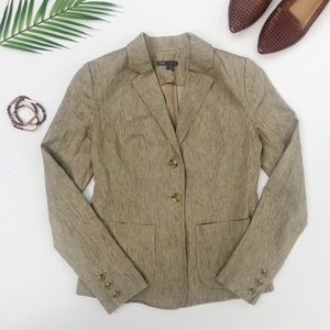 Vince Jacket | Linen Tan Button Front Blazer 4